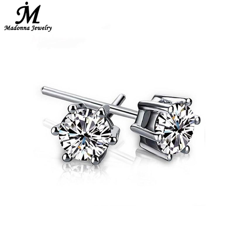2016 Fashion cartilage earrings for men Womenunisex Silver plated Jewelry Simple Six Claw Inlay White Luxury Crystal Wholesale(China (Mainland))