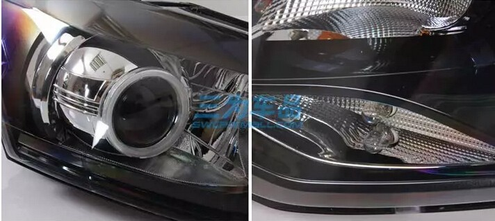 Auto Clud 2011-2014 vw polo headlights bi xenon lens car styling Angel Eyes LED DRL car vw polo head lamps led bar H7 parking