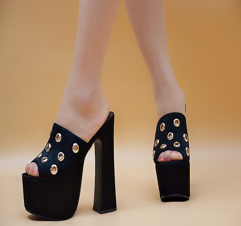 16cm Thick Crust Black Sandal Platforms High Heels Shoes Sandals Women Outdoor Slippers Summer