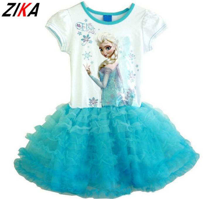 ZIKA 2017 9M-3Y New Baby Birthday Cake Dress Girls Summer Dresses Casual Clothing Cute Cart Elsa Anna Pattrn Little Girl Clothes(China (Mainland))