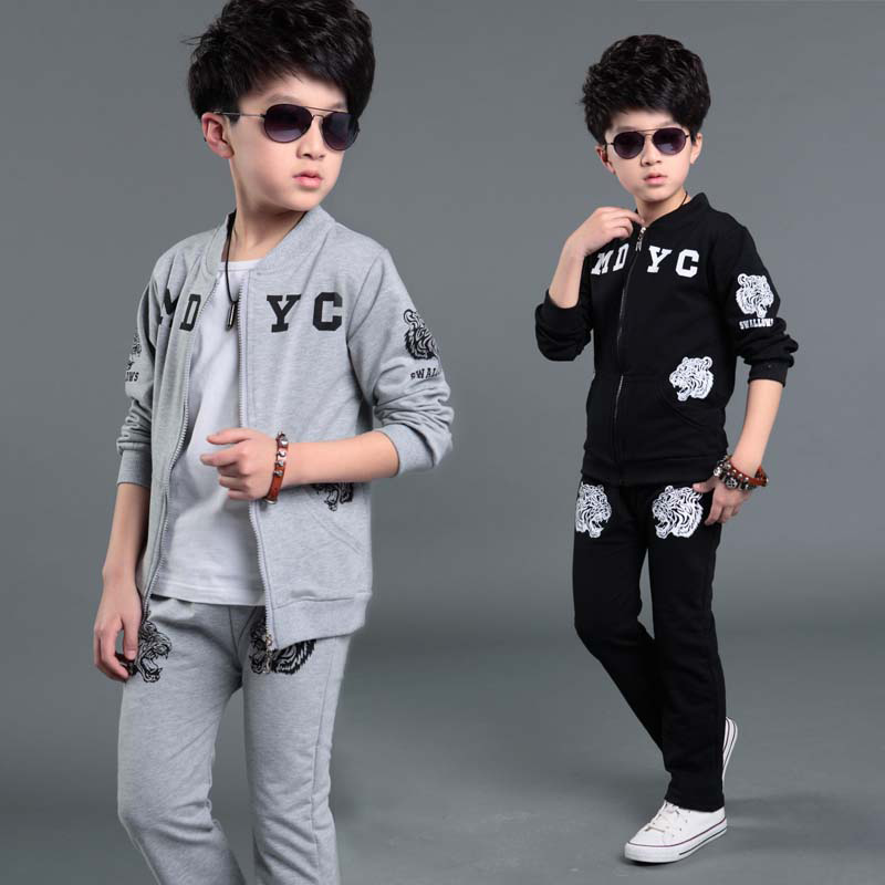 Long Sleeve Clothing Sets for Boys Spring Autumn Boys Sports Suit Print Tiger Kids Casual Coat+Pants Clothes For Children