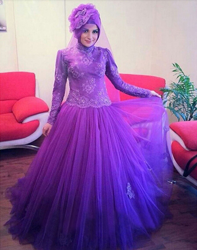 Wedding Decoration Purple Long Dress For Wedding high quality purple muslim wedding dress promotion shop for long sleeve princess islamic arabic bridal lace ball gown tulle gowns robes mariee