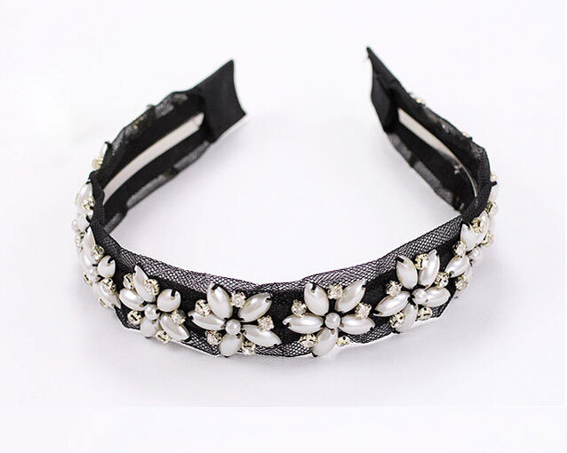 women girls bohemian black lace pearl flower fabric wrapped hairband wide floral headband hair accessories(China (Mainland))