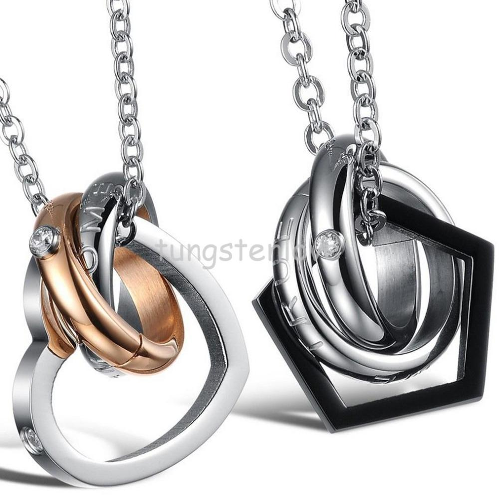 """Stainless Steel Cz """"Dream Come True"""" 2 Circle & Love Heart Pentagon Shaped Circle Interlocking Pendant Couple Necklaces(China (Mainland))"""