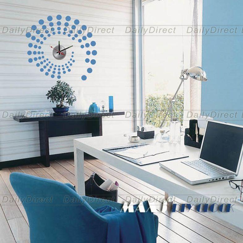 1x Wholesale Large Blue Dot DIY Home Decor Frameless Wall Clock Vinyl Sticker Design Decal 10A014 MAX3 Brand Room Decors(China (Mainland))