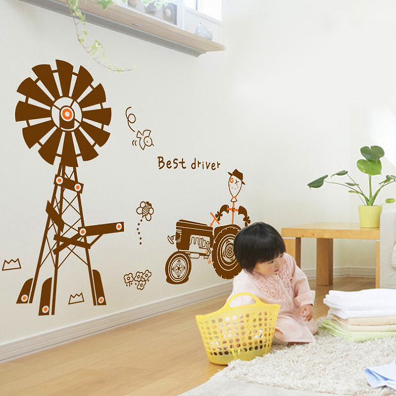 DIY Happy Farm With Agricultural Tractor Vinyl Wall Sticker Baby Kids Children Room Art Wall Decal