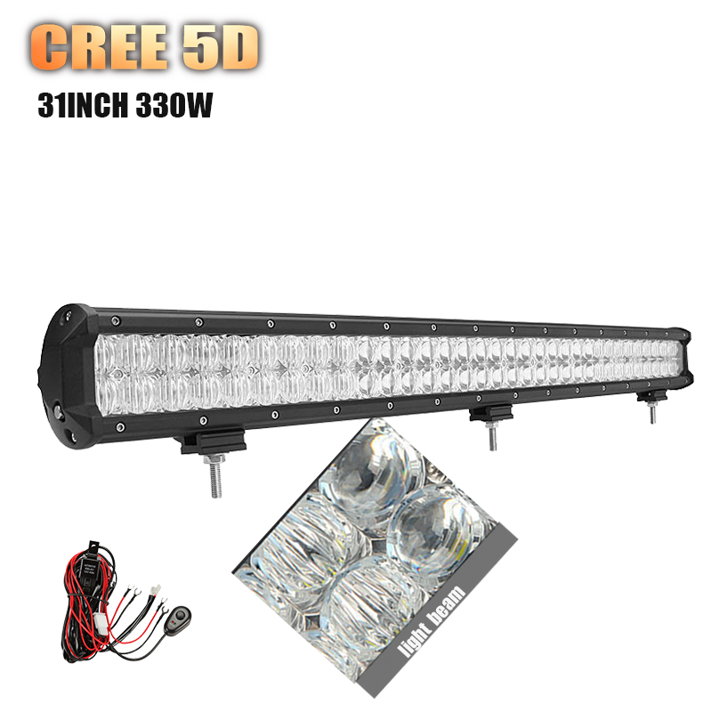 5D lens CREE 31inch 330w LED Work light bar straight combo beam auto led bar for Offroad trailer truck 4x4 SUV ATV pickup wagon(China (Mainland))