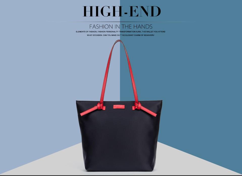 Bostanten Women Bags Nylon Casual Tote Red/Brown Zipper Waterproof Shoulder Bag Shopping Tote Bags Weekender Satchel Handbags