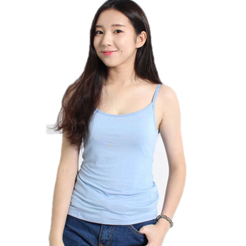 2015 Summer Style Fashionable Spaghetti Strap Solid Color Women Camisole Elastic Modal Sport Fitness Camis Cheap Clothes China(China (Mainland))