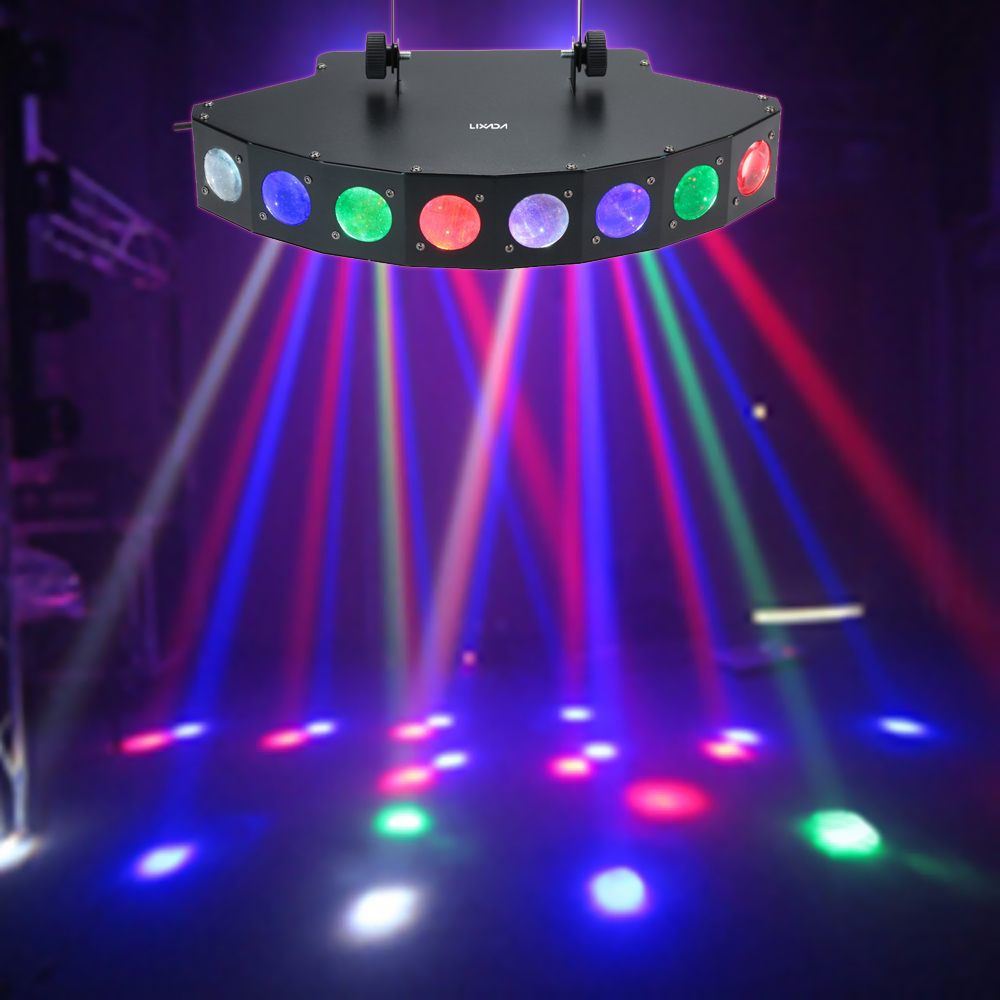LIXADA DJ 25W 8 Channels 8LEDs RGBW Color Change Stage Light Effect DMX512 Auto Run Sound Activation for KTV Disco Party Lights(China (Mainland))