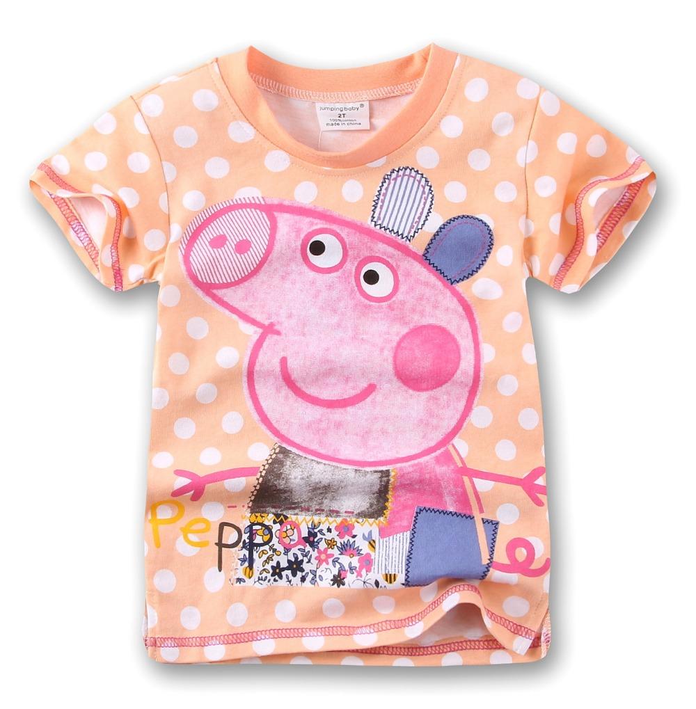 18M-6Y 100% Cotton Summer Girls Tees Kids t-Shirt Girl Tshirt Peppa Tops Roupas Infantis Menino Cartoon Children Clothing(China (Mainland))