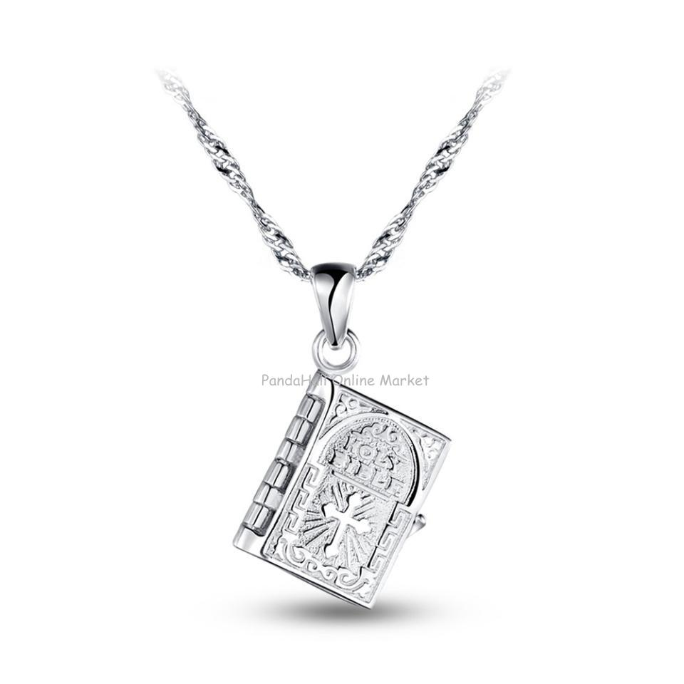 SWEETIEE&amp;reg Stylish 925 Sterling Silver Book with Word Pendant Necklace, The Book Pendant Can Be Opened, Platinum, 17.7<br><br>Aliexpress