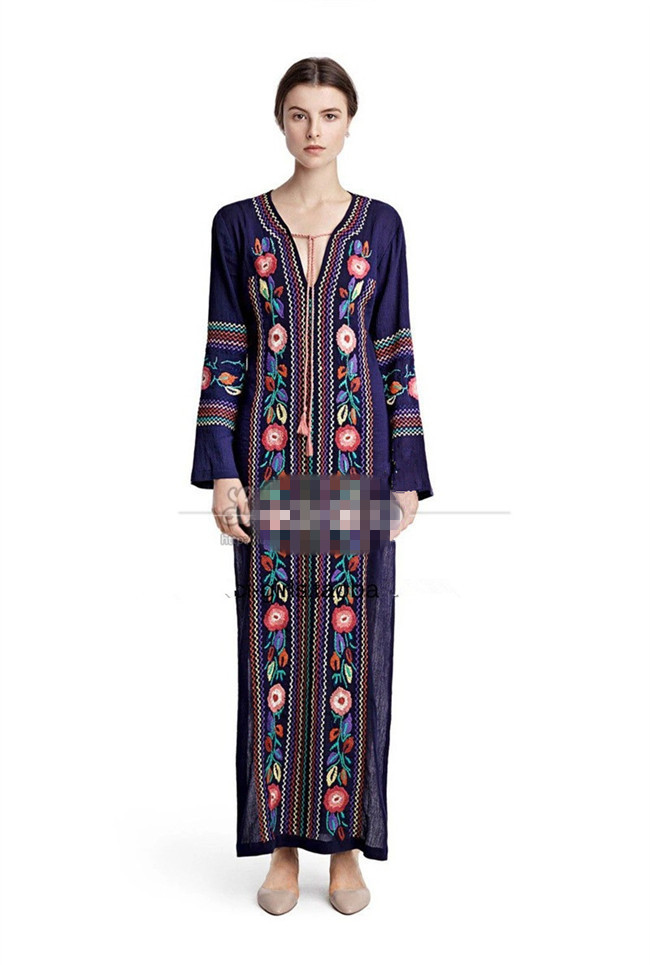 Free shipping Women Ethnic Vintage Flower Embroidery Cotton Loose Beach Hippie Long Dresses Boho People Style Maxi dress(China (Mainland))