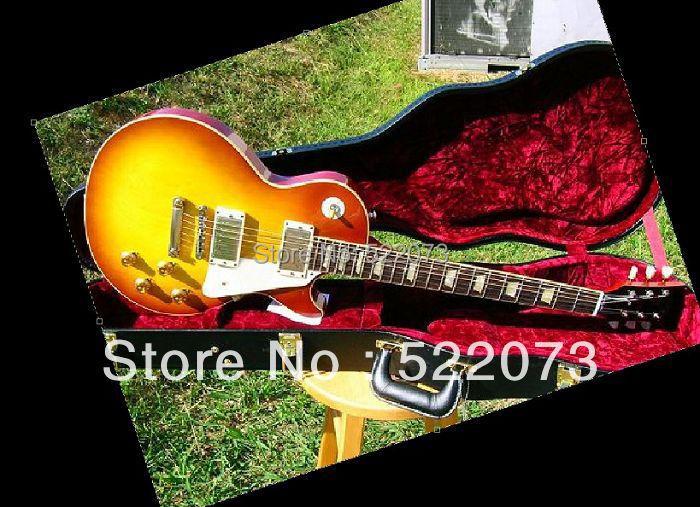 best Factory Mahogany guitar Custom Shop 1958 VOS Plain Top Reissue Iced Tea Sunburst electric guitar OEM(China (Mainland))