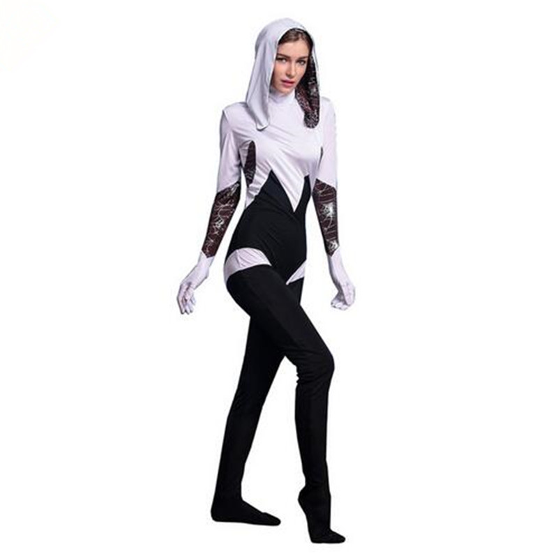 Adogirl Spiderman Halloween Costume Spider Jumpsuit Show Shooting Clothes For Women Dance Parties Cosplays(China (Mainland))