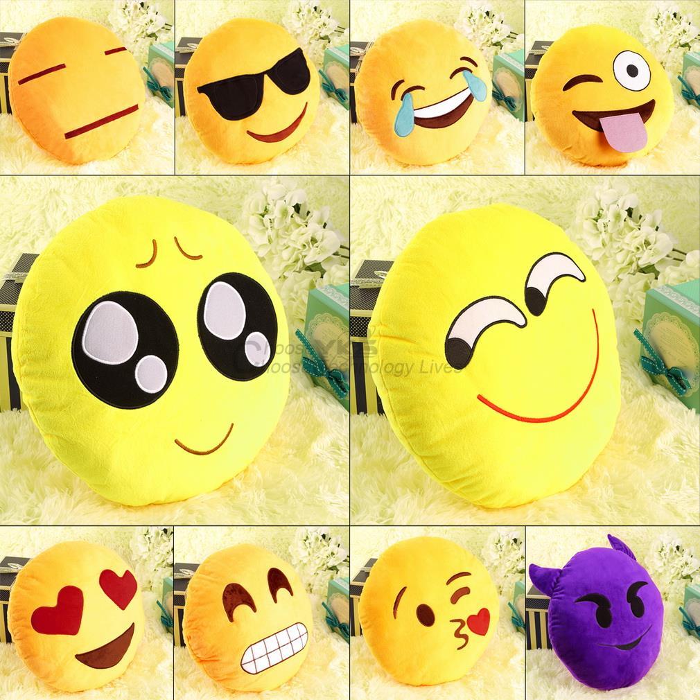 pretty Soft cute Emoji Smile Emoticon Pretty Round Cushion Pillow Stuffed Plush Toy(China (Mainland))
