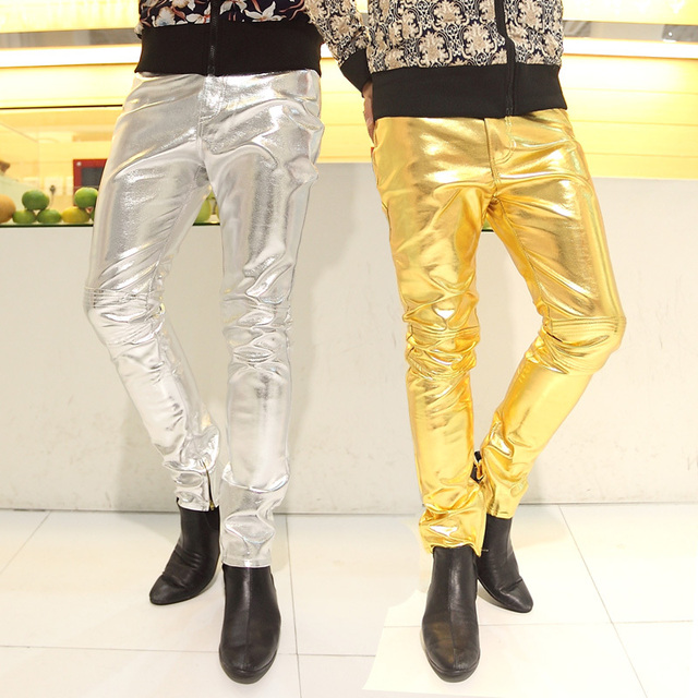 Мужчины приталенный fit брюки сексуальный мужчины в золото кожа танец брюки плотные ...