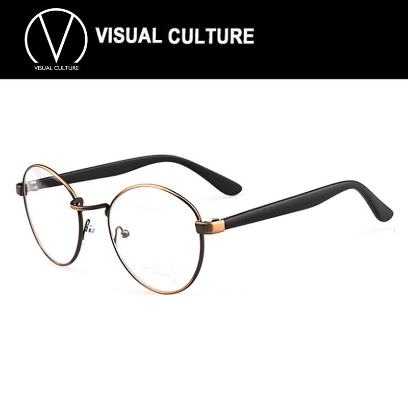 How To Pick Eyeglass Frame Color : Brand Glasses men women Black round eyeglasses frame ...