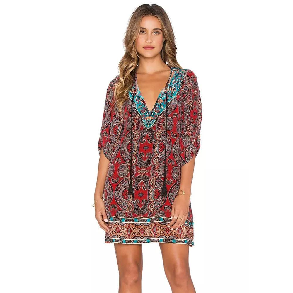 summer Women dresses Polyester printing girl mini dress 3/4 Sleeves female Bohemian Neck Tie Vintage Ethnic V-Neck clothing s-xL