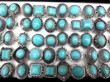 30pcs natural turquoise stone tribal lady's vintage silver rings