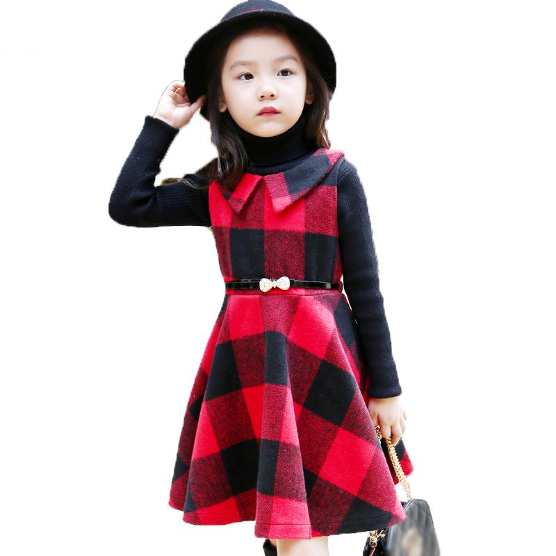 Girl dress red plaid christmas dresses for girls 2015 winter kids