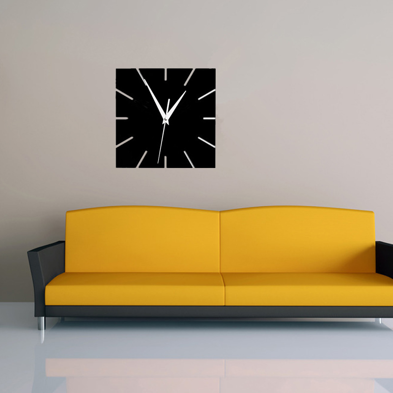 2016 hot acrylic mirror wall clock modern design clocks reloj de pared watch living room europe style square design wall sticker(China (Mainland))
