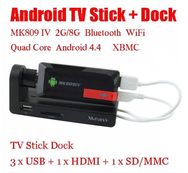 Quad Core Android TV Box MK809 IV Android 4.4 2GB/8GB Bluetooth Wifi DLNA HDMI + TV Stick Dock mini PC Holder USB HUB HDMI SD(China (Mainland))