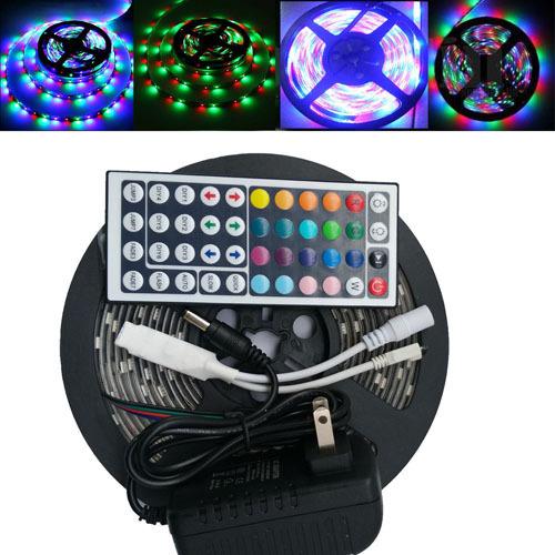 Waterproof LED RGB strip light SMD2835 Fiexble Light 60LED/M 5M DC 12V Adapter Power 2A Bright than 3528 RGB strip lamp bulb(China (Mainland))