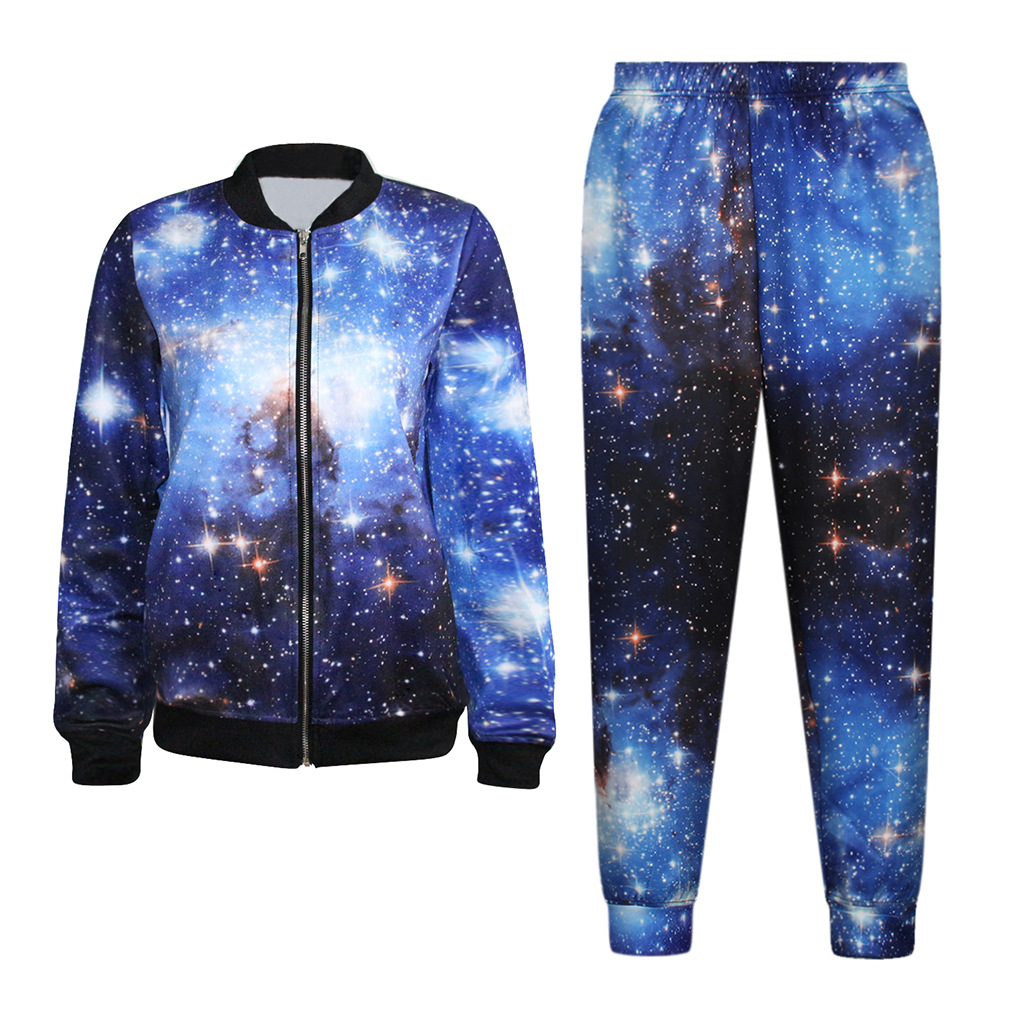 2015 New 2 piece set women two piece outfits women clothing set Space cotton winter Baseball tie dyed star star(China (Mainland))