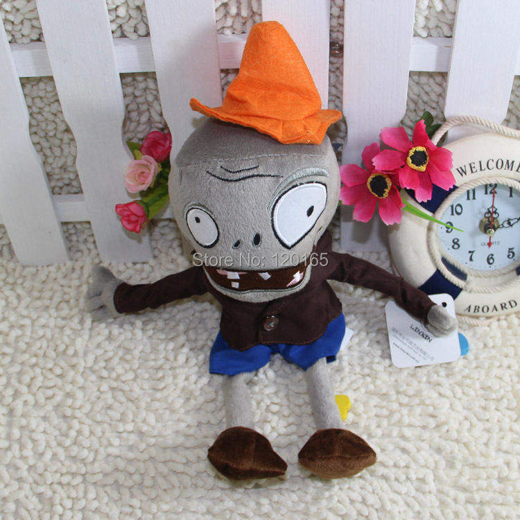 28CM (hats Zombie) Plants vs zombies doll plush toy Doll Stuffed Animals Baby Toy for Children Gifts Wedding Gifts toys Hot sale(China (Mainland))