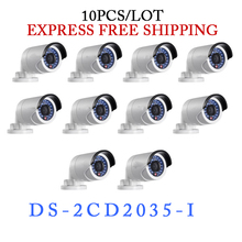 Wholesale 10 pcs lot original DS 2CD2035 I 1080p infrared outdoor network camera 3MP IR bullet