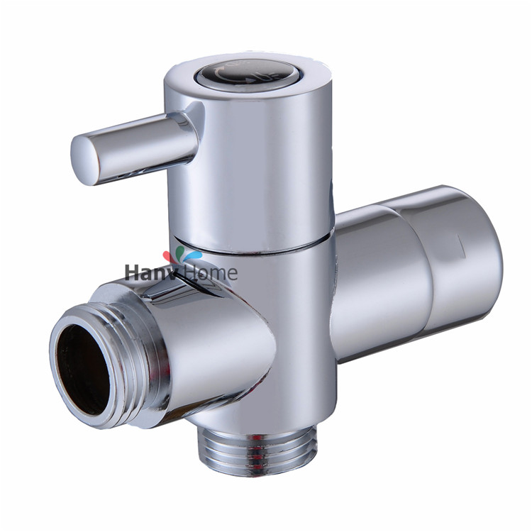 G1/2 Brass Valve Core Solid T-adapter for Bidet Sprayer Shower Set Shaffat Jet diverter valve Chrome Shower Water Separator(China (Mainland))