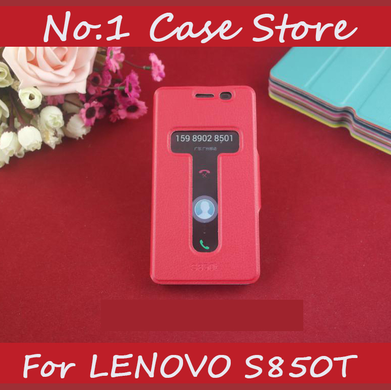 Double Open Window Flip Leather Cell Phone Cocver For Lenovo S850 S850T Call ID Caller Display Double View Case Business Style(China (Mainland))