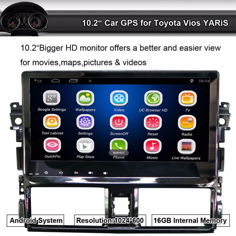 Android Car GPS Radio for Toyota Vios YARiS 10.2 inch Touch Screen Quad-Core 1024*600,WiFi,Bluetooth A2DP,Smartphone Mirror-link