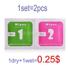 2pcs/set=1*Wet+1*Dry Camera Lens LCD Screens Dust Removal Wet Dry Cleaning Cloth Wipes Papers for camera for phone(China (Mainland))