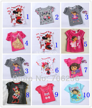 Free Shipping Girls Baby Kids Children Size 1-5Y Minnie Mouse Dora Princess Pink Short Top T shirt CT04