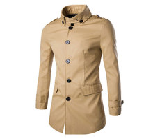 2016 New Arrival Fashion Button Spring Trench  Tide Male Long Coat Lapel Coat High Quality Cotton Solid  Trench M-3XL(China (Mainland))
