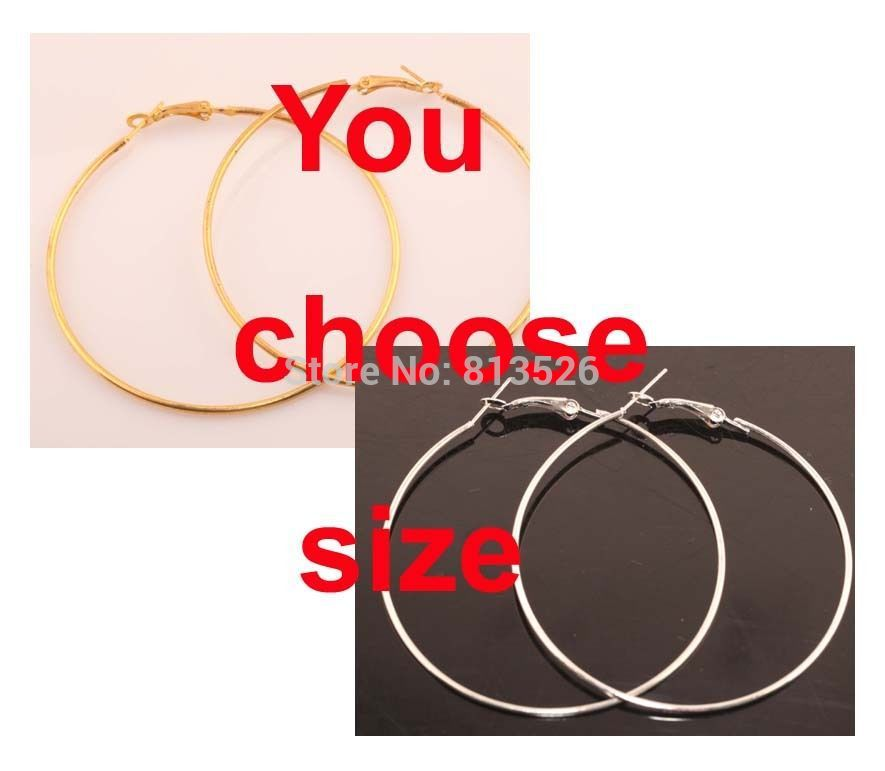 OMH wholesale European Style 20pcs Silver Round Circle Metal Hook Basketball Wives Earrings 60mm(China (Mainland))