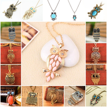 17 Colors 2015 Brand Women Cheap Metal Vintage Charm Owl Necklace Fashion Statement Necklaces & Pendants Jewelry For Girl PT33