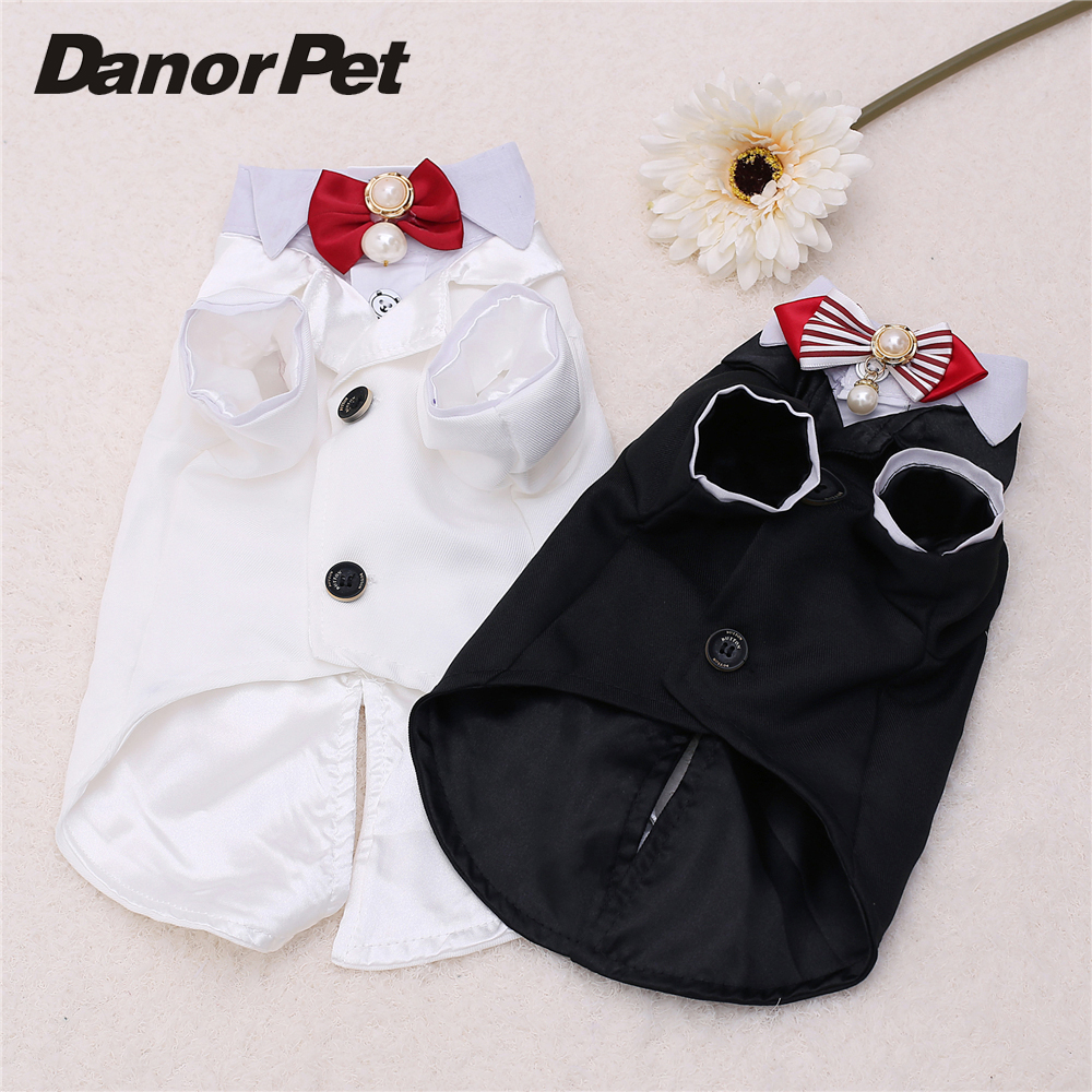 Pet Dog Tuxedo Garment Suit Clothes Bow Tie Pearl London Style Puppy Dog Wedding Party Shirt Coat for Gentleman Male Dog Clothes(China (Mainland))