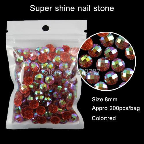 200pcs/lot round shape red fashion nail art glitter stone