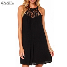 Buy ZANZEA 2017 Summer Style Women Sexy Casual Sexy Lace Chiffon Dresses Sleeveless Loose Party Mini Solid Dress Vestidos Plus Size for $7.76 in AliExpress store