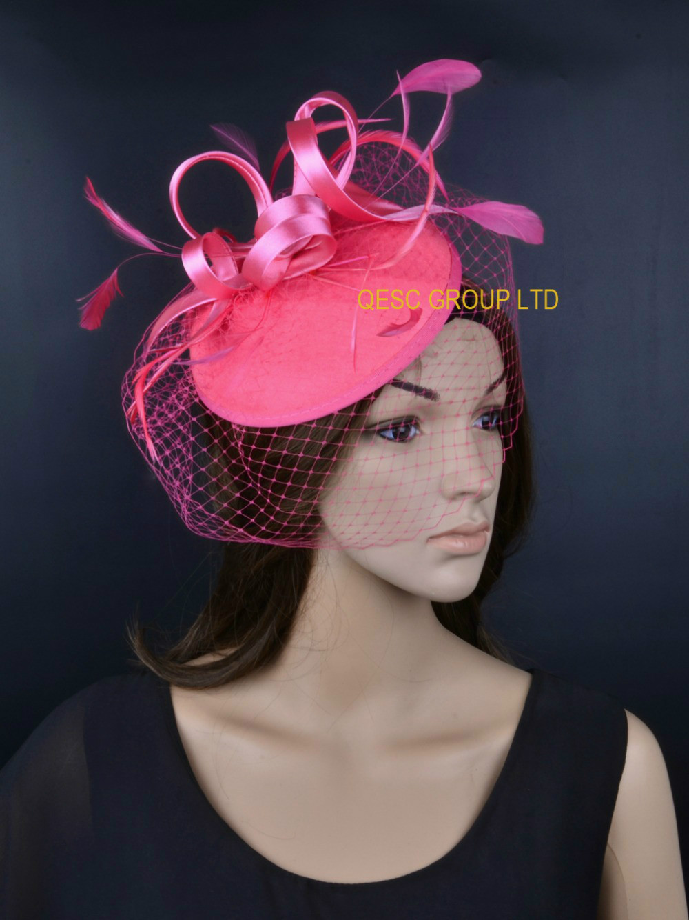 NEW Pink hot pink Fascinator/felt fascinator/wedding race carnival fascinator with feathers and veiling for party.(China (Mainland))