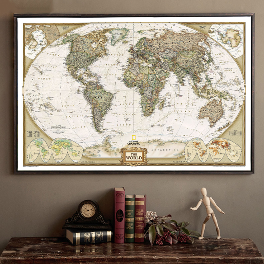 Newest Vintage World Map Home Decoration Detailed Antique Poster Wall Chart Retro Paper Matte Kraft Paper 28*18inch Map Of World(China (Mainland))