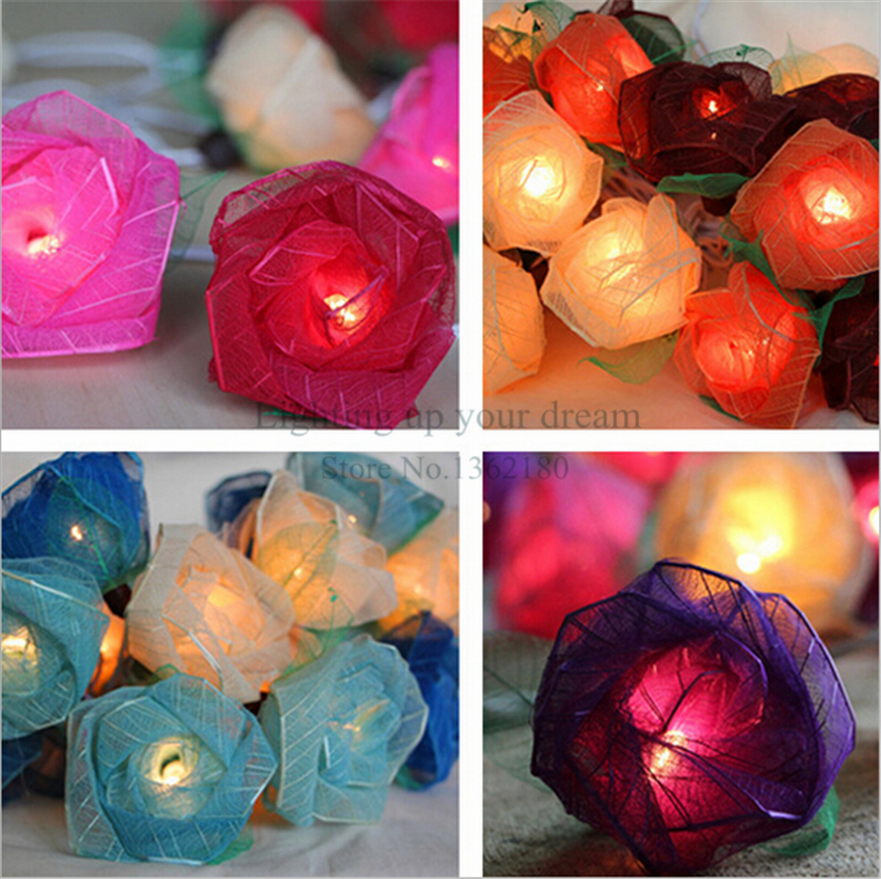Beautiful Design 20LED Battery Operated Rose Flower String Lights Pink Lighting Wedding Garden Christmas Decor 220V 3M(China (Mainland))