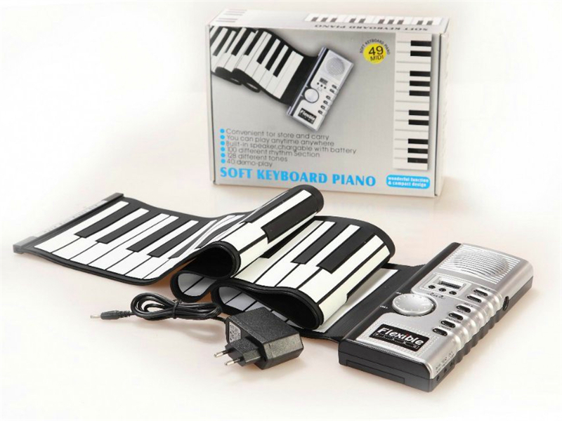 Hot Sale Midi Control USB Flexible Piano Keyboard 49 Keys Silicone Educational Electronic Roll Up Piano Loud Sound Quality Toys(China (Mainland))