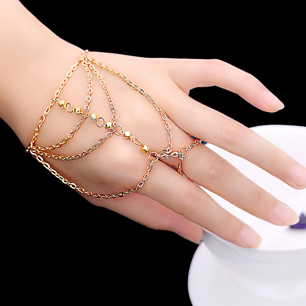 Fashion Celebrity Multi Chain Tassel Bracelets Slave Finger Hand Harness multilayer white crystal Mosaic Bangle Gelang Gold 043F(China (Mainland))