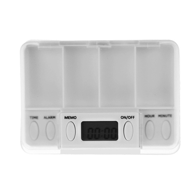 New White Square Intelligent Timing Daily Reminder Alarm 4 Day Pill Box Medicine Tablet Storage Container Case With LED Lights(China (Mainland))