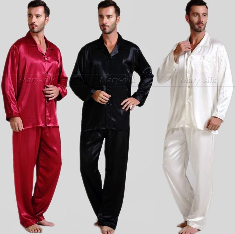 Mens Silk Satin Pajamas Set Pajama Pyjamas PJS Sleepwear U.S.S,M,L,XL,2XL,3XL,4XL(China (Mainland))