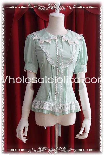 Ladies Light Green Cotton Doll Collar Short Sleeves Sweet Lolita Blouse